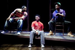 From left, Lance Coadie Williams, J. Mal McCree and Nickolas Vaughan in 'Marcus; or the Secret of Sweet' at Studio Theatre. (Photo by Scott Suchman; courtesy of Studio)