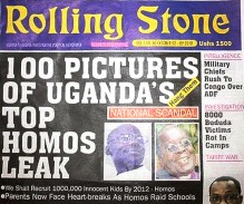 David Kato's photo appeared on the cover of a Ugandan newspaper with a banner reading 'hang them.' He was later murdered.