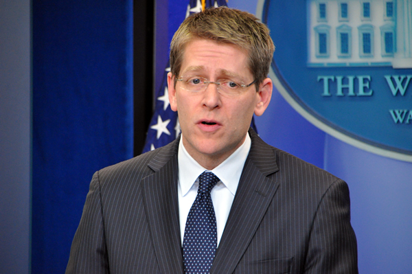 White House Press Secretary Jay Carney answers questions at the White House daily briefing