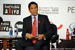 Dr. Sanjay Gupta moderated the World AIDS Day panel. (Washington Blade photo by Michael Key)