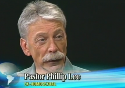 Screen capture of Pastor Phillip Lee on Jamaican television show 'Religious Hardtalk,' discussing ex-gay ministries in 2009. (Screen capture of His Way Out ministries uploaded video)