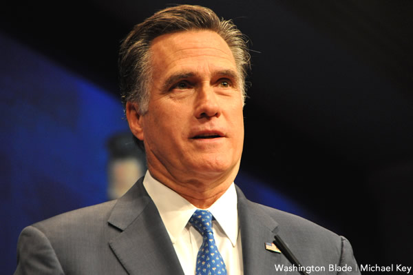 Mitt Romney speaking before attendees at the 2012 Conservative Political Action Conference (Washington Blade photo by Michael Key)