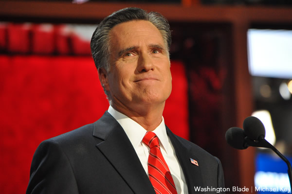 Former Republican presidential nominee Mitt Romney has urged for the veto of the Arizona anti-gay bill (Blade file photo by Michael Key).
