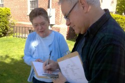 A Mainers United for Marriage volunteer speaks with a likely voter in Brunswick (Photo courtesy of Mainers United for Marriage)