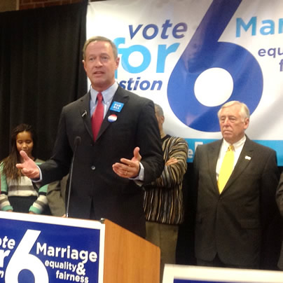Martin O'Malley, Question 6, election 2012, Maryland, gay marriage, same sex marriage, gay news, Washington Blade