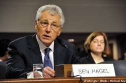 Defense secretary nominee Chuck Hagel was confirmed by the Senate by a 58-41 vote (Washington Blade photo by Michael Key)