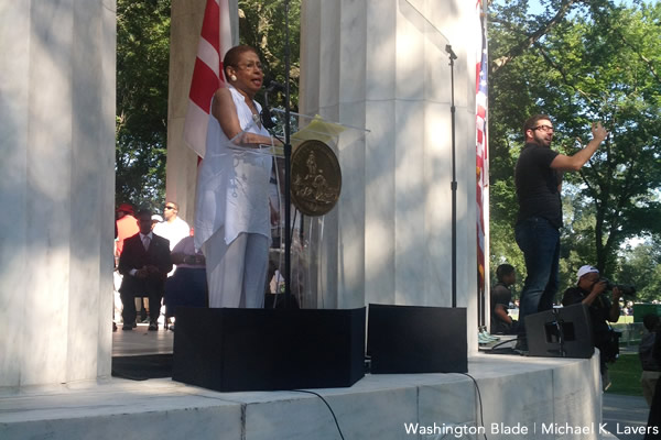 Eleanor Holmes Norton, District of Columbia, D.C. statehood, War Memorial, gay news, March on Washington, Washington Blade