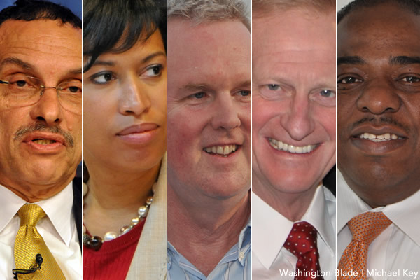 mayoral race, Vincent Gray, Muriel Bowser, Tommy Wells, Jack Evans, Vincent Orange, mayor, District of Columbia, gay news, Washington Blade