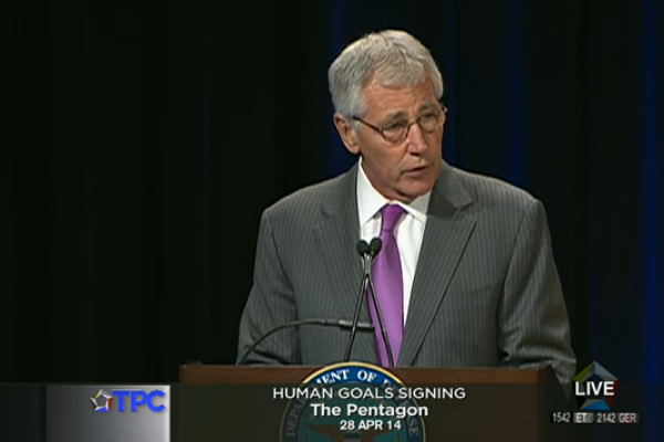 Defense Secretary Chuck Hagel speaks at a signing ceremony for a gay-inclusive human goals charter (Screenshot courtesy defense.gov).