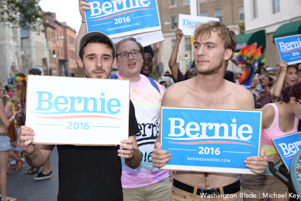 Bernie Sanders supporters marched in the Baltimore Pride Parade this year. (Washington Blade photo by Michael Key)