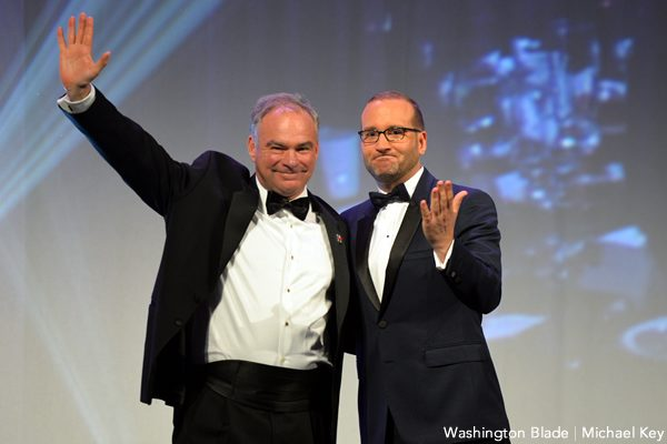 Tim Kaine, Chad Griffin, Human Rights Campaign National Dinner, gay news, Washington Blade