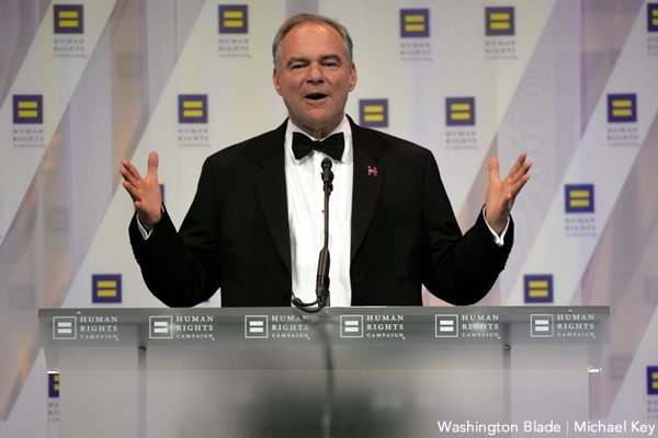 Tim Kaine, Human Rights Campaign National Dinner, gay news, Washington Blade