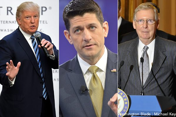 President-elect Donald Trump (left), U.S. House of Representatives Speaker Paul Ryan (R-Wis.) and U.S. Senate Majority Leader Mitch McConnell (R-Ky.) have made Obamacare repeal a campaign promise. (Washington Blade file photos by Michael Key)