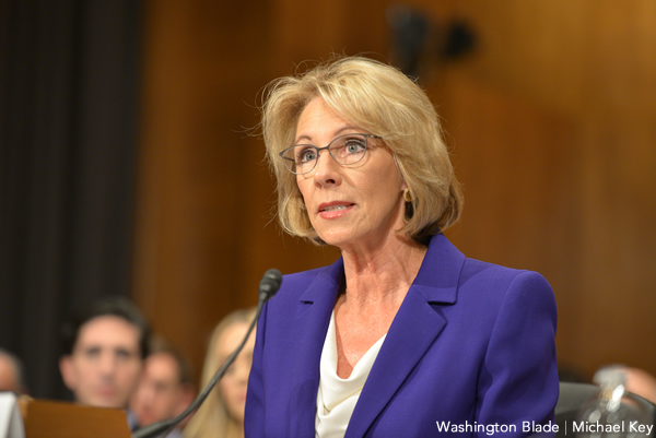 Betsy DeVos, sexual assault policy, gay news, Washington Blade