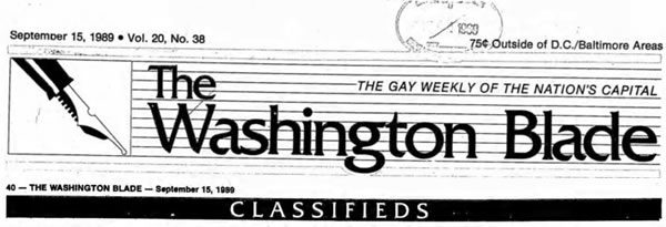 classified ads, gay news, Washington Blade
